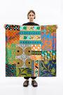 Retro orange patchwork scarf