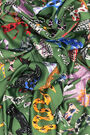 Green art brut animal scarf