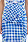 Blue gingham midi skirt