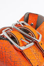 S neon orange leather bucket bag