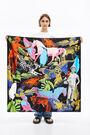 Surrealist collage scarf