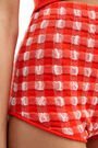 Red gingham jersey shorts