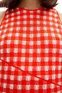 Long red gingham dress